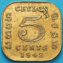 Цейлон 5 центов 1942 год.