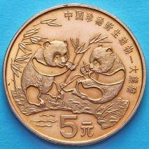Китай 5 юаней 1993 год. Панды.