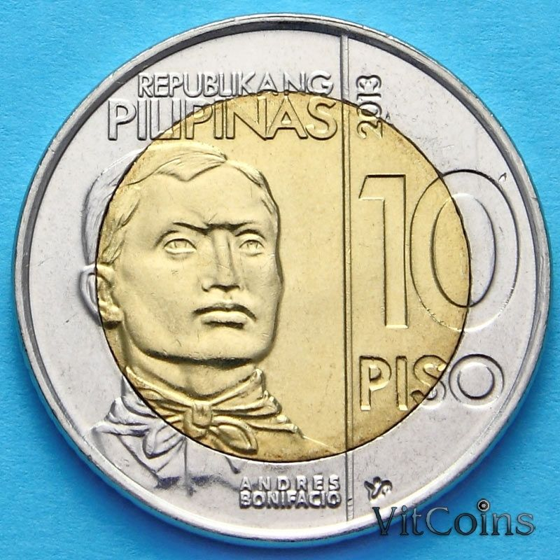 Монета Филиппины 10 песо 2013 год. Андрес Бонифацио