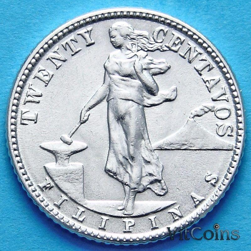 Монета Филиппин 20 сентаво 1945 год. Серебро.