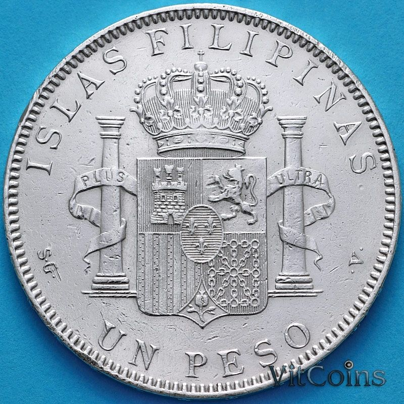 Монета Филиппины Испанские 1 песо 1897 год. Серебро.