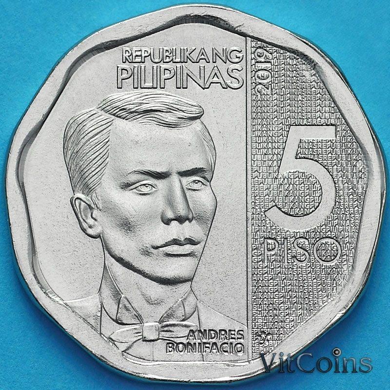 Монета Филиппины 5 песо 2019 год. Новый дизайн.