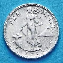 Филиппины 10 сентаво 1944, 1945 год. Серебро