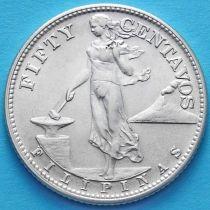 Филиппины 50 сентаво 1944 год. Серебро.