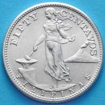 Филиппины 50 сентаво 1945 год. Серебро.