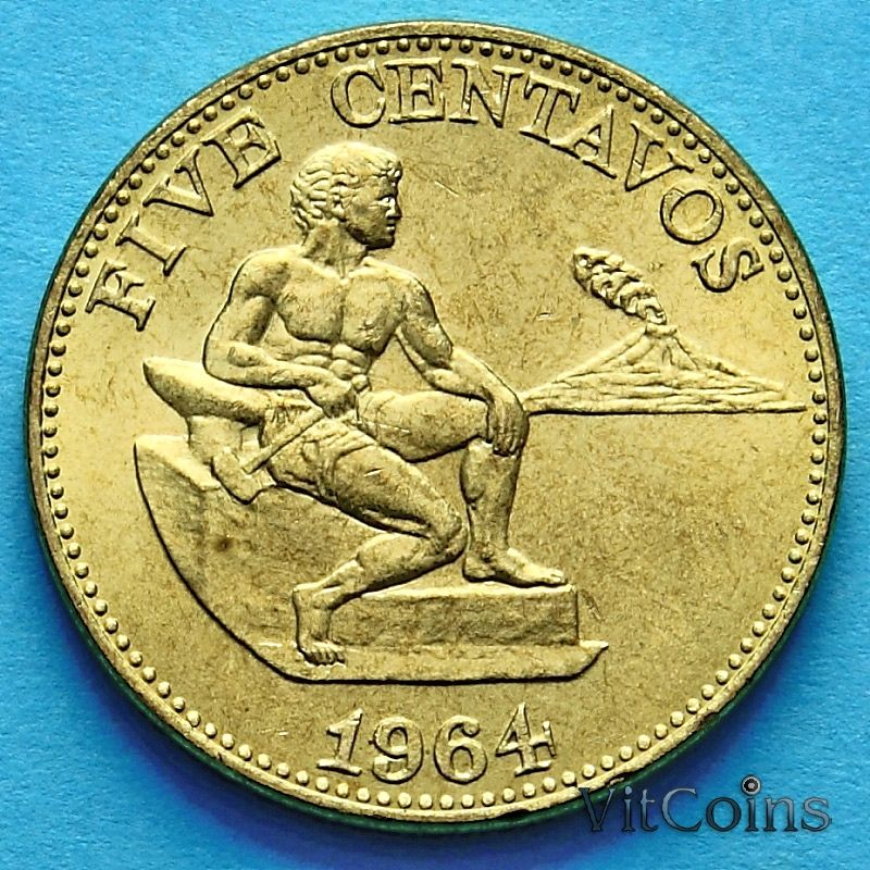 Монета Филиппин 5 сентаво 1964 год.
