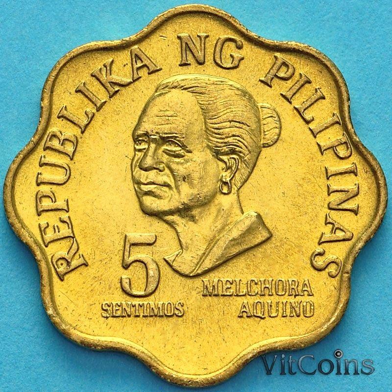 Монета Филиппин 5 сентимо 1975 год.