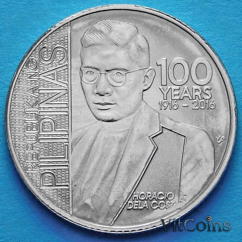 Монета Филиппин 1 песо 2016 год. Преподобный Горацио дель Коста.