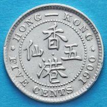 Гонконг 5 центов 1900 год. Королева Виктория.