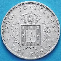 Португальская Индия 1 рупия 1882 год. Серебро. №3.