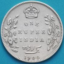 Британская Индия 1 рупия 1906 год. Бомбей. Серебро.