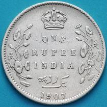 Британская Индия 1 рупия 1907 год. Калькутта. Серебро.