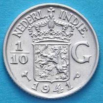 Нидерландская Восточная Индия 1/10 гульдена 1941 год. Р. Серебро.