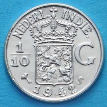 Нидерландская Восточная Индия 1/10 гульдена 1942 год. S. Серебро.