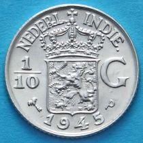 Нидерландская Восточная Индия 1/10 гульдена 1945 год. Р. Серебро.