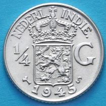 Нидерландская Восточная Индия 1/4 гульдена 1945 год. S. Серебро.