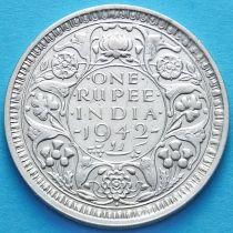 Британская Индия 1 рупия 1942 год. Серебро. Георг VI.