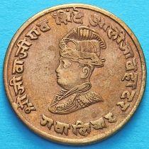 Индия 1/4 анны 1929 год, VS 1986, княжество Гвалиор. Нос вздернут.