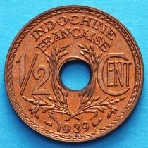 Французский Индокитай 1/2 сантима 1939 год. Без обращения.