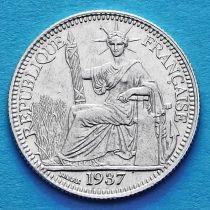 Французский Индокитай 10 сантим 1937 год. Серебро.