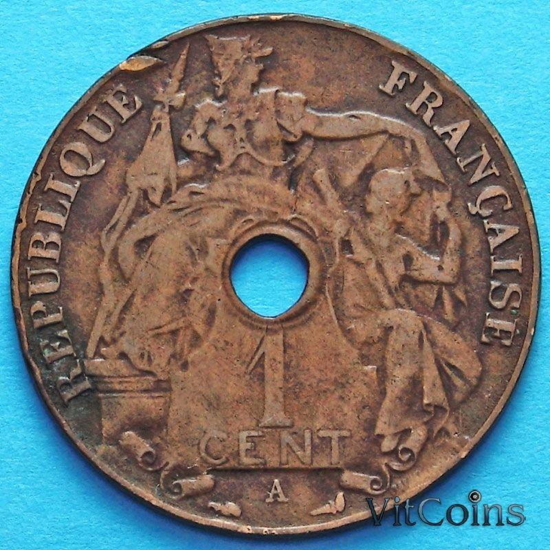 Монета Индокитай Французский 1 сантим 1912 год.