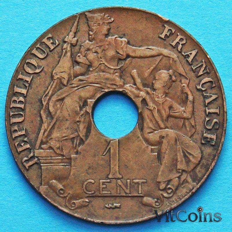 Монета Индокитай Французский 1 сантим 1923 год.