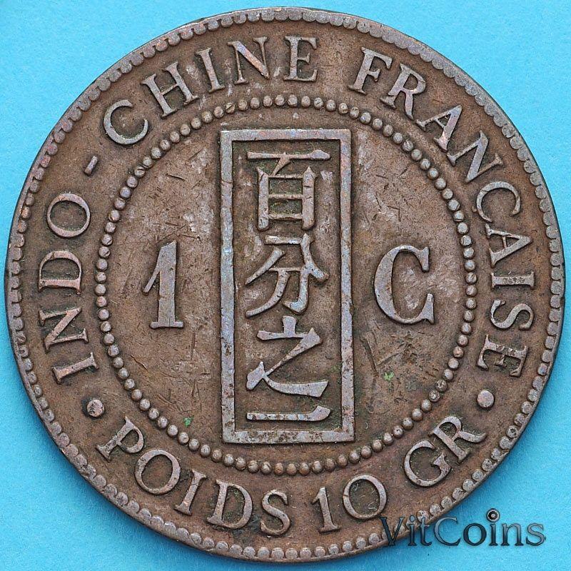 Монета Индокитай Французский 1 сантим 1885 год. А.
