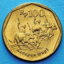 Индонезия 100 рупий 1997 год. Погонщики коров.