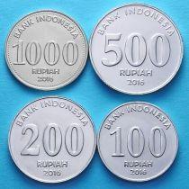 Лот 10 штук. Индонезия набор 4 монеты  2016 год.