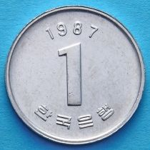 Лот 10 монет. Южная Корея 1 вон 1983-1987 год.