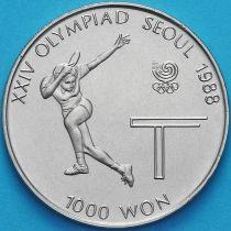 Южная Корея 1000 вон 1988 год. Настольный теннис.