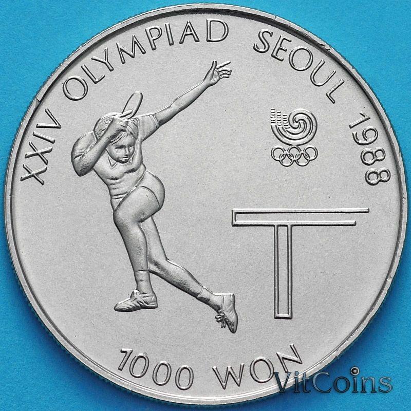 Монета Южная Корея 1000 вон 1988 год. Настольный теннис.