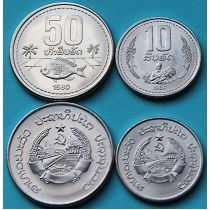 Лаос набор 2 монеты 1980 год.