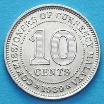 Малайя 10 центов 1939 год. Серебро.