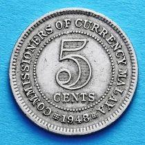 Малайя 5 центов 1948-1950 год.