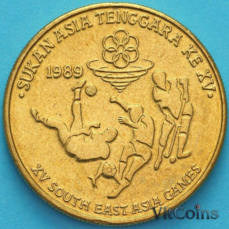 Монета Малайзия 5 ринггит 1989 год. XV Игры Юго-Восточной Азии.