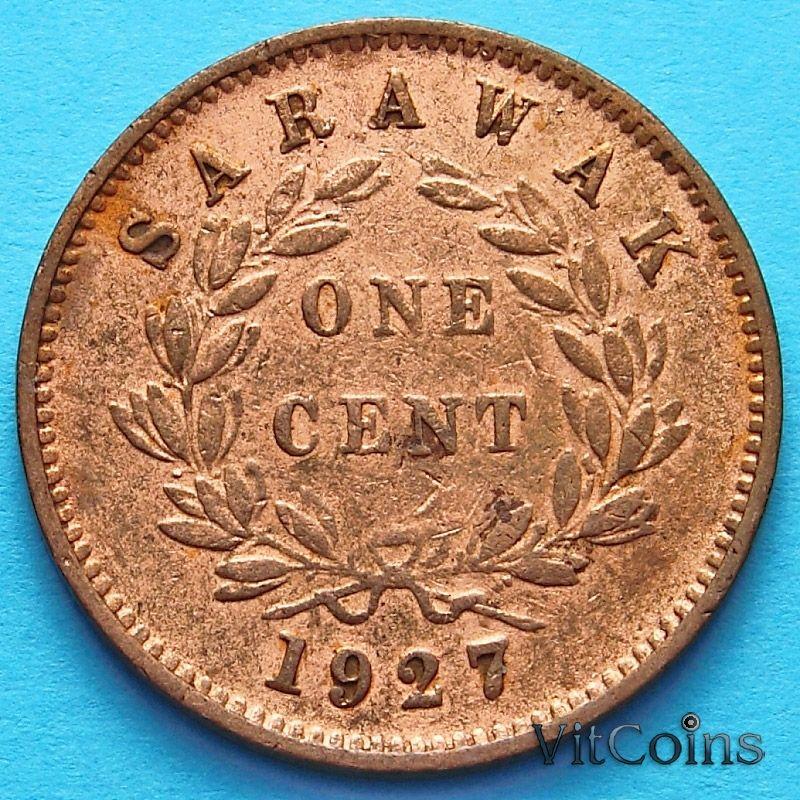 Монета Саравака 1 цент 1927 г. №4