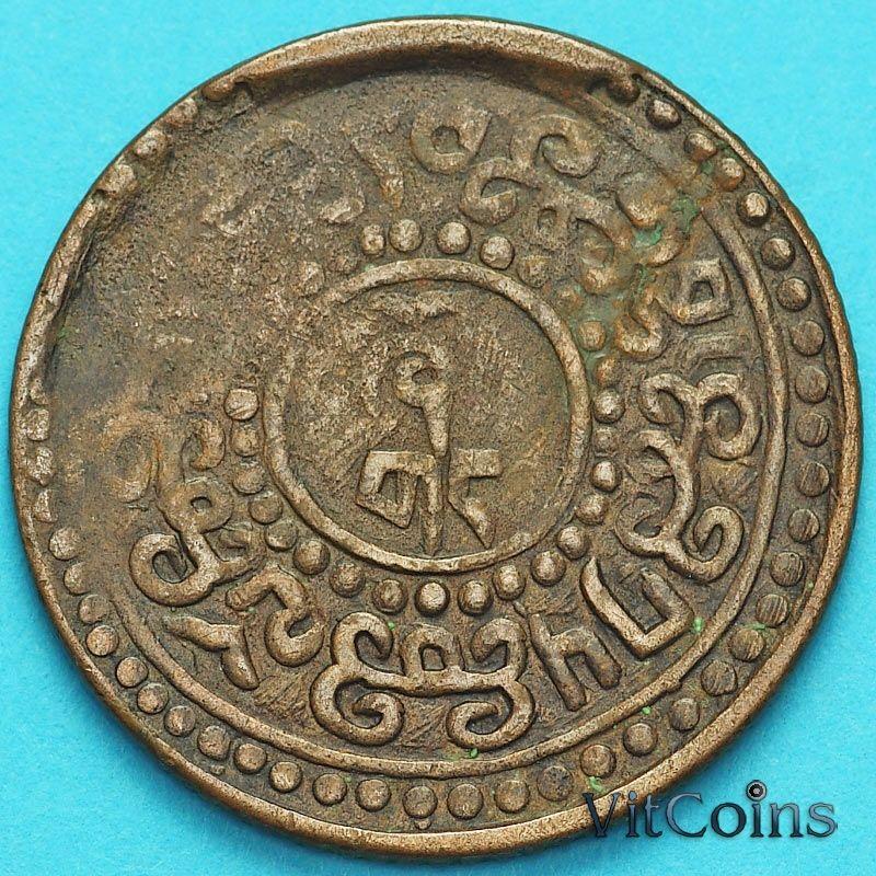 Монета Тибета 1 шо 192? год. Вертикальная надпись.