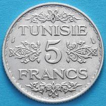 Тунис 5 франков 1934 год. Серебро.