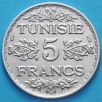 Тунис 5 франков 1936 год. Серебро.