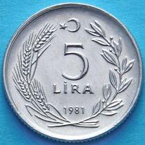 Турция 5 лир 1981 год.
