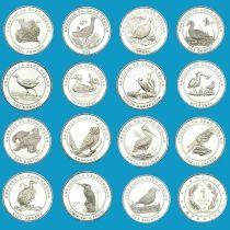 Турция набор 15 монет. Птицы Анатолии.