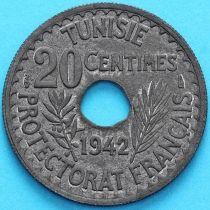 Тунис 20 сантим 1942 год.