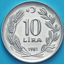 Турция 10 лир 1981 год.