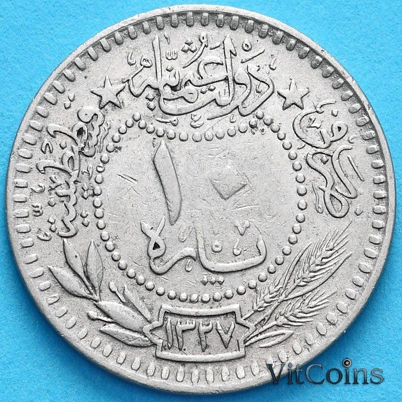 """Монета Турция, Османская империя 10 пара 1909 (1911) год. На аверсе под тугрой цифра """"٣"""" (3)"""