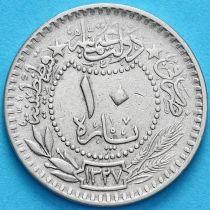 "Турция, Османская империя 10 пара 1909 год. На аверсе под тугрой цифра ""٤"" (4)"