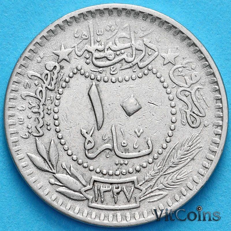 """Монета Турция 10 пара 1909 (1912) год. На аверсе под тугрой цифра """"٤"""" (4)"""