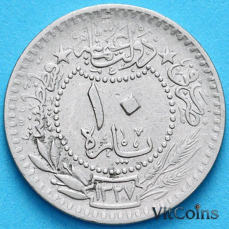 """Монета Турция, Османская империя 10 пара 1909 (1913) год. На аверсе под тугрой цифра """"٥"""" (5)"""