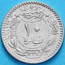 "Турция, Османская империя 10 пара 1909 год. На аверсе под тугрой цифра ""٧"" (7)"