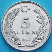 Турция 5 лир 1987 год.